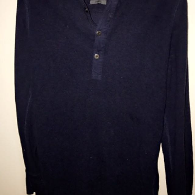 Industrie Navey Hooded Henley Shirt