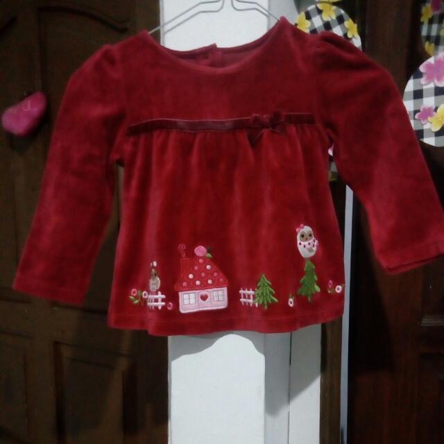 Kaos bludru anak perempuan 2-3 tahun merk Gymboree