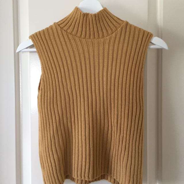 Laura Rib Knit Turtleneck Crop Sleeveless Jumper