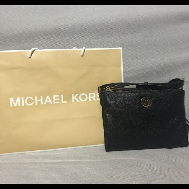 Michael Kors black fulton cross body bag