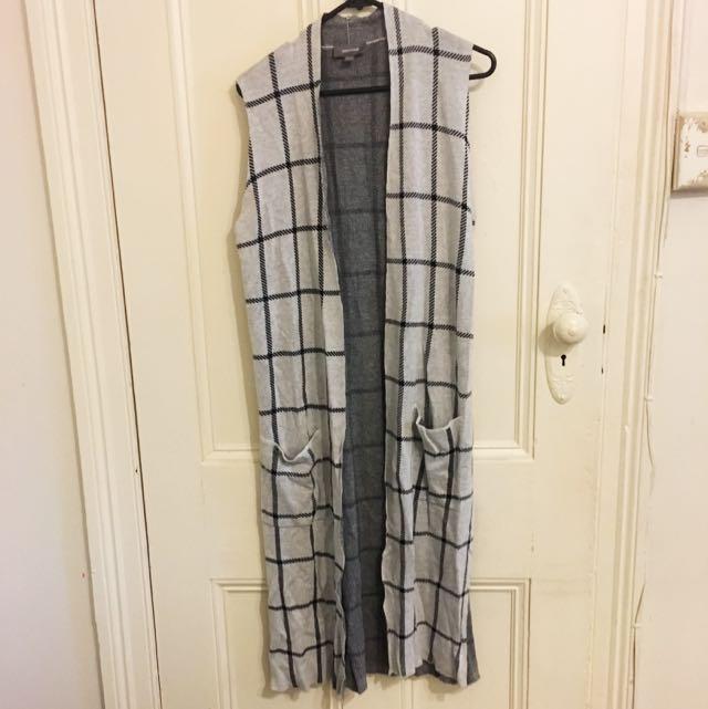 Mid Length Cardigan Grey Check