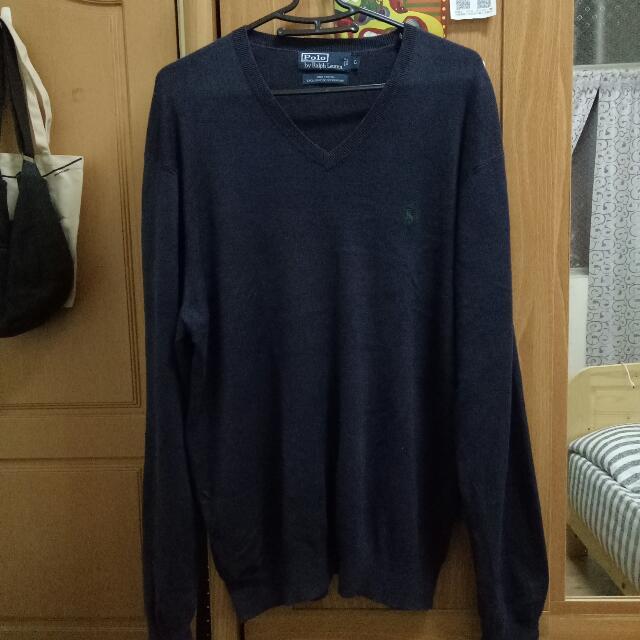 Polo 針織毛衣 深藍 藏青 V領 薄毛衣 針織衫