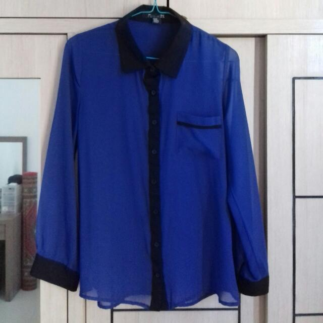 Preloved Blouse Sifon Biru Forever 21