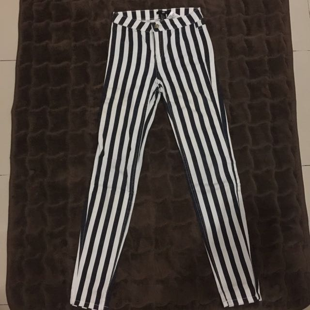 PRELOVED H&M Stripe Skinny Long-Pants