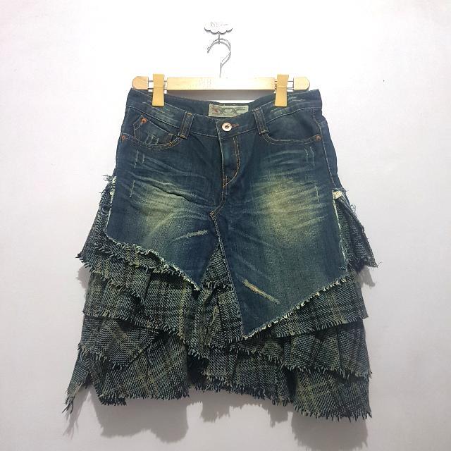 Preloved Distressed Denim Skirt