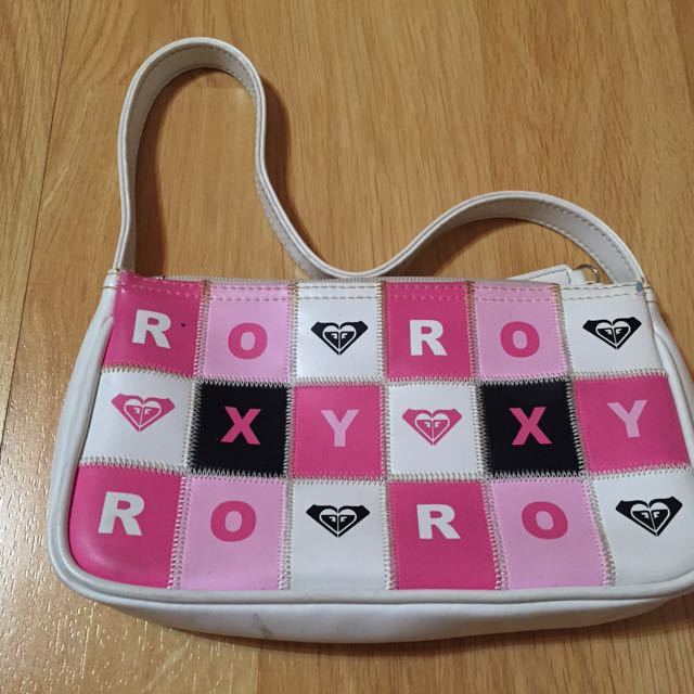 Roxy Pink and White Clutch