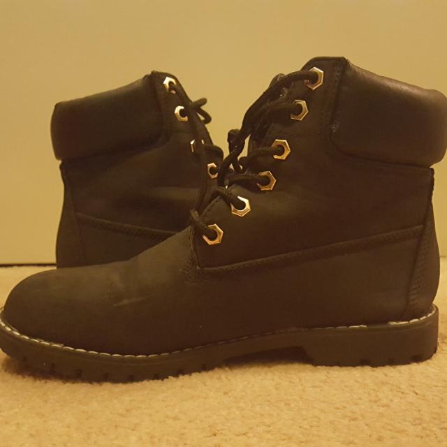 Rubi Black Timberland Style Boots Size 38