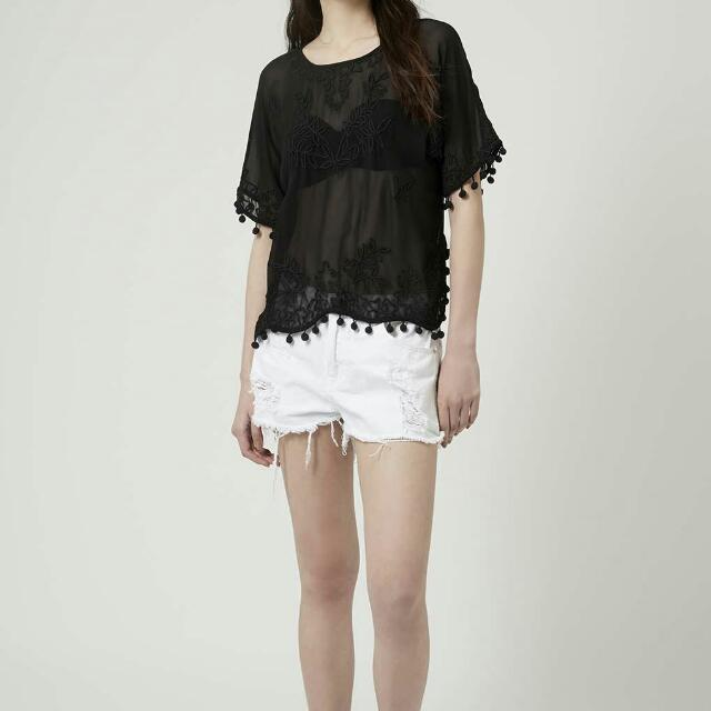 Topshop Sheer Pom-Pom Embroidered Top