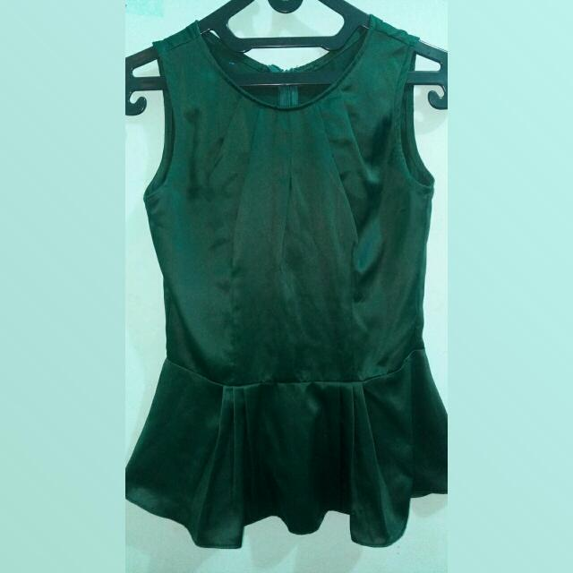 Unbranded Peplum Blouse In Green