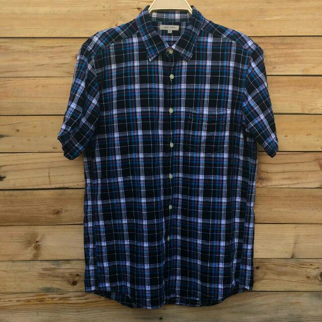 Uniqlo Linen Blend Short Sleeve Shirt