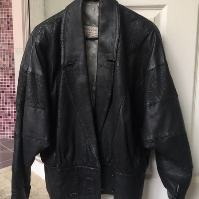 Vera Pellet Vintage Black Patterned Oversize Leather Jacket