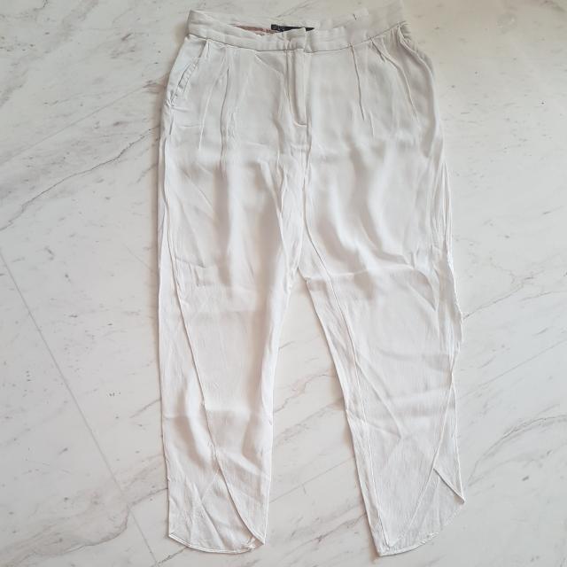 Zara Silk White Loose Pants