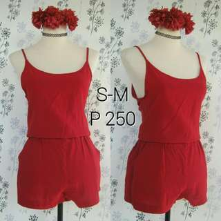 Red Basic Romper
