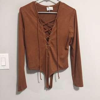 Brown Suede Bodysuit