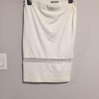 White Zara Pencil Skirt With Mesh Band