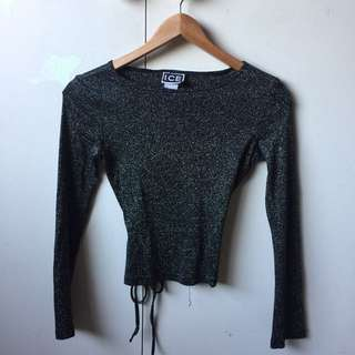 METALLIC LONG SLEEVE CROP ~ TIE UP AT THE BACK, SIZE S
