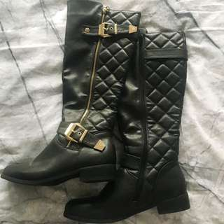WORN ONCE BLACK LEATHER BOOTS