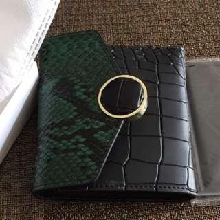 歐風蛇紋復刻版牛皮3摺皮夾錢包