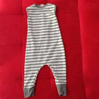12m Playsuit Stripe Grey