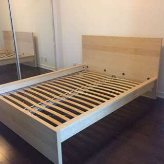 Ikea Malm Bed Frame and Luroy Slatted Bed Base  - Queen