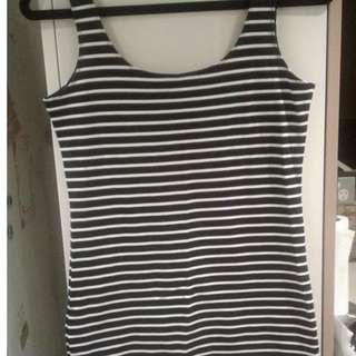 Black and white striped Bardot dress