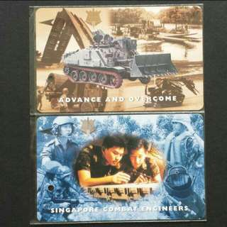 1997 Singapore $4 x 2pcs 30th Anniversary Of Singapore Combat Engineers MRT Transitlink Farecard