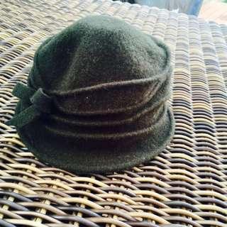 Ladies Olive Wool Hat