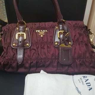 Authentic Prada Bag TessutoGaufre Rare Maroon Colour