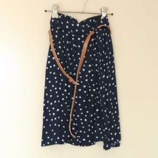 Navy floral skirt with belt