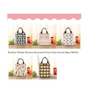 Fashion Whale Pattern Decorated Pure Color Lunch Bag C99748