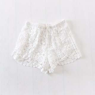 White Crochet Laced Drawstring Shorts