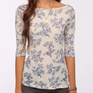 Cream with navy pattern top