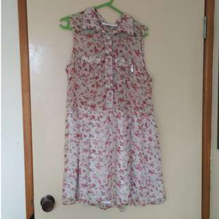 Cream and pink sheer dress