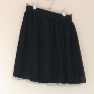 3x skater skirt, black/mint green/lavender purple