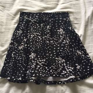 Black And White Dotted Skirt