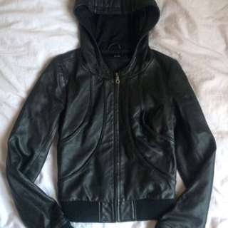 Bardot Hood Leather Jacket Black Size 8