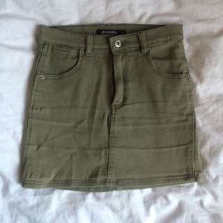 Khaki Denim Skirt Size S