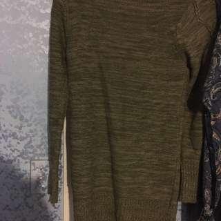 Green & Beige Woven Sweater