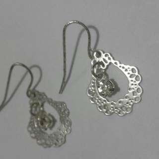 Dangling Framed Diamond Earrings