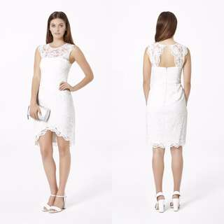 Size 4 | Forever New | White Lace Dress