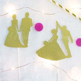 Bride and Groom Silhouette Gold Glitters Cake Topper