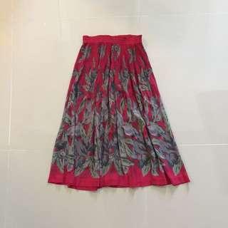 Fuchsia Grey Midi Skirt