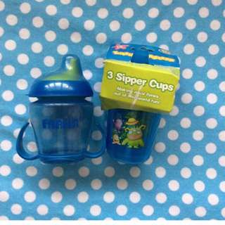 BN - Little Monsters 3 Sipper Cups (free preloved Farlin Sippy Cup)