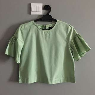 Dusty Green Crop Top Flare Sleeves