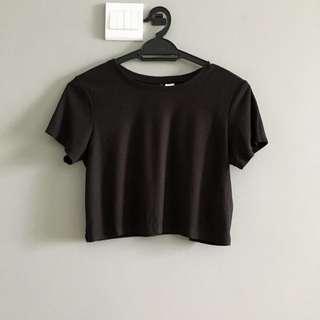 H&M Crop Black T Shirt Top