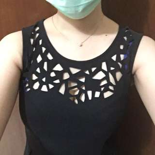 Black Laser Cut A-Line Dress