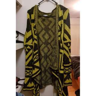 Valleygirl Yellow And Black Cardigan Jumper Size Small