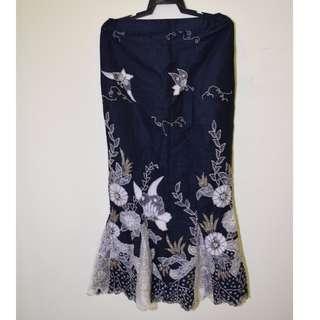 Fully Beaded Mermaid Tail Batik Kebaya Long Skirt RAYA