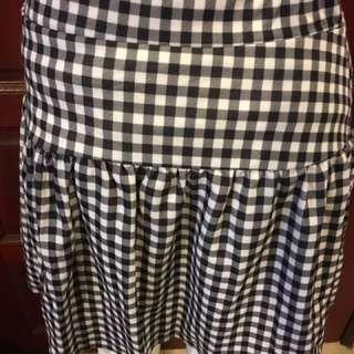 Gingham Black Skirt