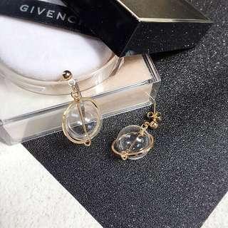 🎈透明簍空吹玻璃球狀耳環